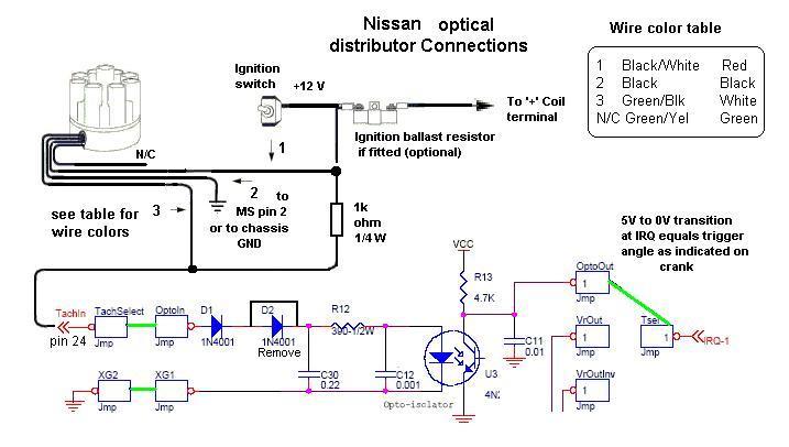 megasquirt w/ nissan optical distributor nissan quest distributor wiring 2004 nissan quest stereo wiring diagram #11
